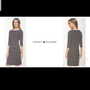 New Tommy Hilfiger Stripe 3/4 Long Sleeve Dress
